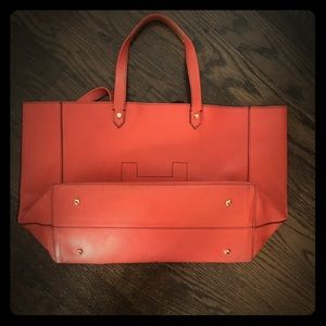Hunter Leather Bag, Coral EUC